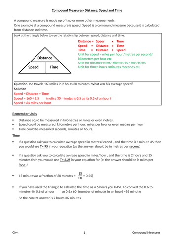 GSCE- COMPOUND MEASURES- speed, distance and time / pressure, force and area