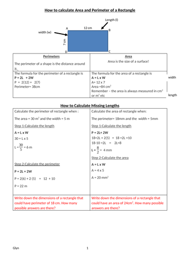 GCSE -AREA AND PERIMETER-Rectangles, Triangles, trapeziums circles (including Arc Length/Angle)