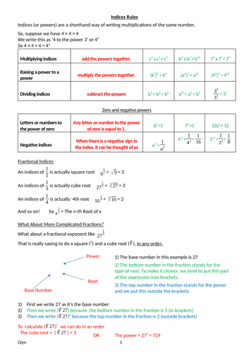 GCSE- INDICES, ROOTS AND STANDARD FORM