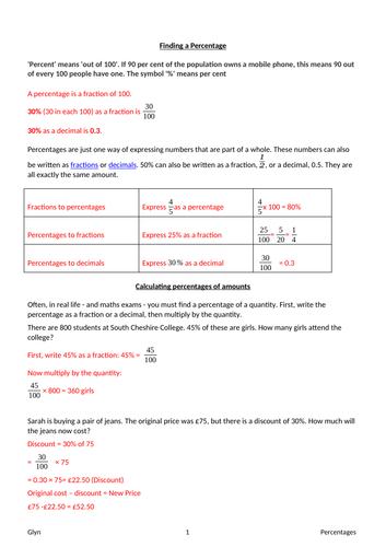 GCSE-Percentages -amount/ Reverse percentages/ Percentage Change/ Simple & Compound Interest