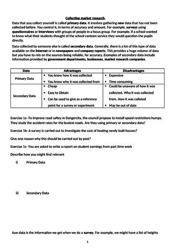 GCSE- SAMPLING- -primary & secondary data, discrete & continuous data, Qualitative and Quantative
