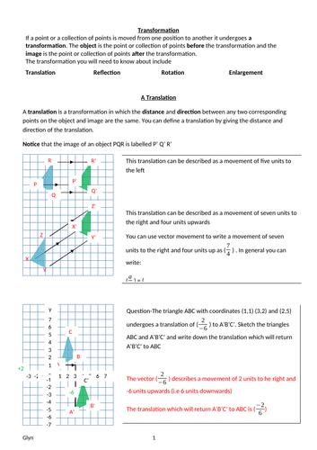 GCSE -Transformation and Vectors - Translation, Reflection, Rotation, Enlargement, Vectors