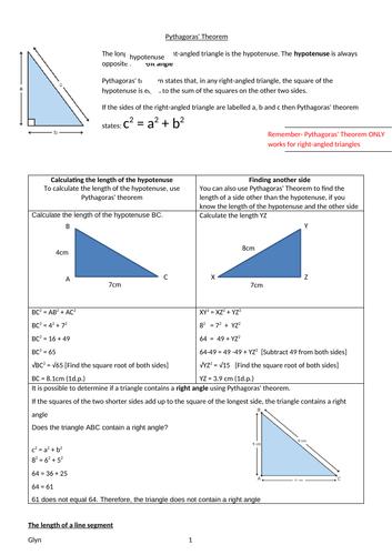 GCSE-Pythagoras' Theorem/Trigonometric ratios- Calculating the length of a side/Trigonometric ratios