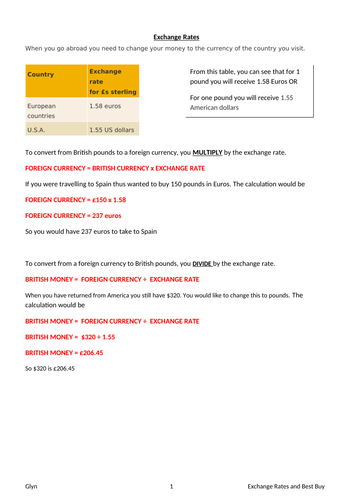 GCSE -Exchange rates