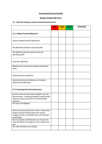 Financial Performance - Personalised Learning Checklist