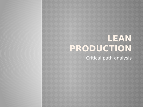 Lean Production - Network Diagrams