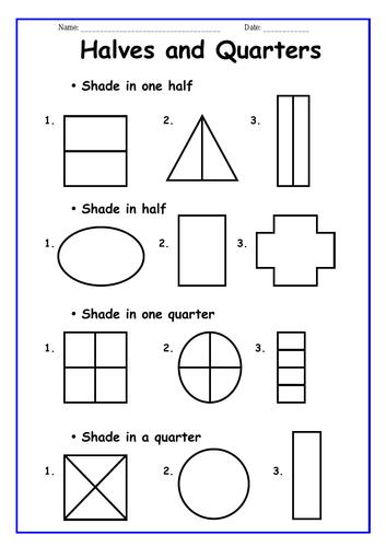 Halves and Quarters Worksheets