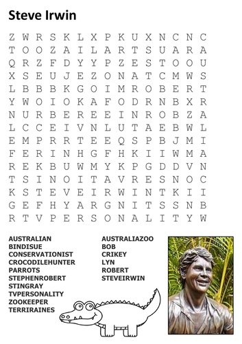 Steve Irwin Word Search