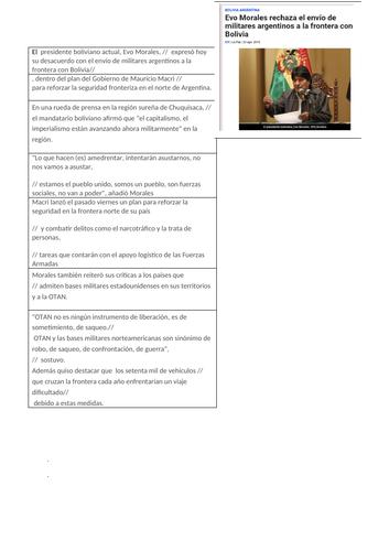 Spanish A level translation: Evo Morales,  borders and migration