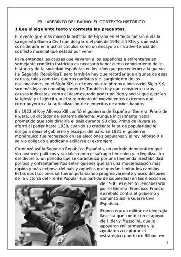 Spanish A Level: El laberinto del fauno: contexto histórico (Pan's Labyrinth: historical background)