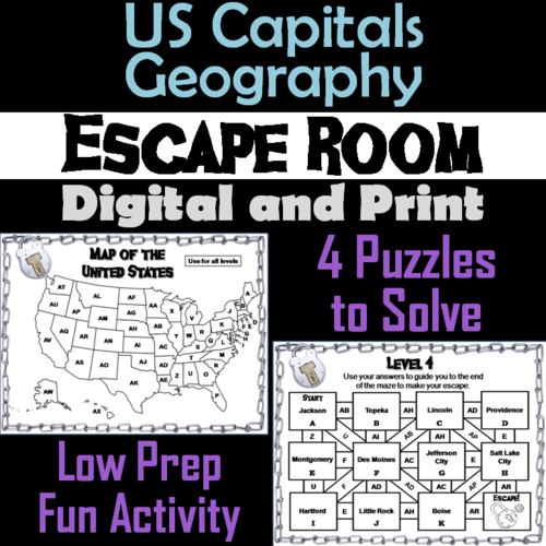 US States and Capitals Game: Geography Escape Room Social Studies by ...