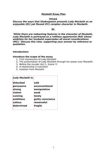 Romeo And Juliet Essay Thesis  Importance Of English Language Essay also Paper Essay Writing Lady Macbeth Essay Workbook By Newgreenshoots  Teaching Resources  Tes Sample Thesis Essay