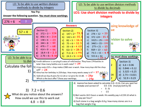 Short dvision (Dividing by integers and decimals)