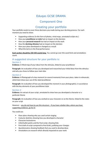 Eduqas/WJEC 9-1 GCSE Drama Component 1 - Devising Writing Frames - Portfolio, Evaluation and Notes