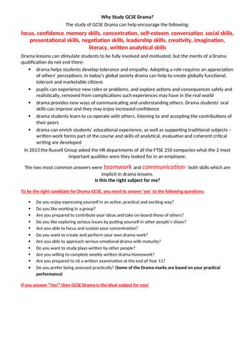 Options Evening Why Study Drama GCSE Handout