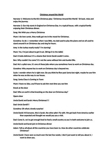 KS1 Christmas play script-Christmas Around the World
