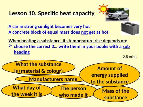 SPECIFIC HEAT CAPACITY, KS4, Physics, New GCSE Specification