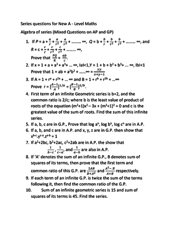 New A level  series questions (MIxed)