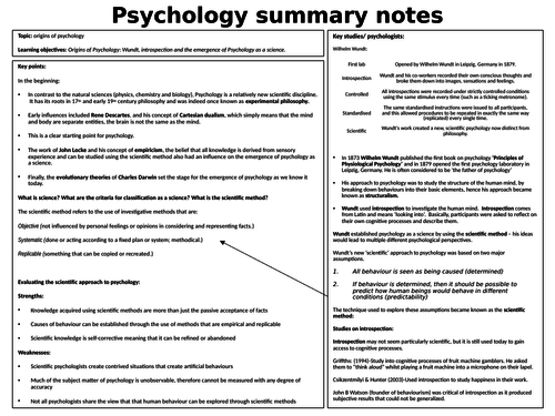 Origins of Psychology A Level Psychology summary notes AQA Paper 2