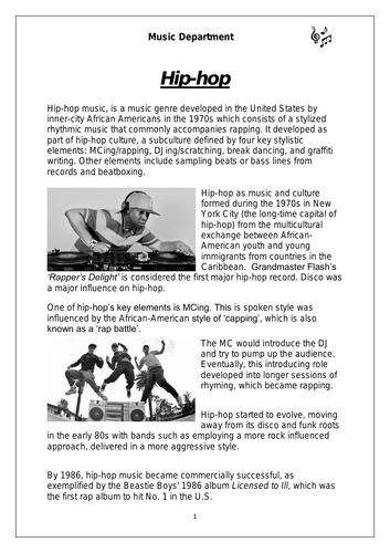 KS3 Music Cover Resource - Hip-hop worksheet (for middle sets)