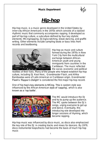 KS3 Music Cover Resource - Hip-hop worksheet