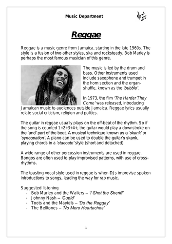 KS3 Music Cover Resource – Reggae worksheet (differentiated for lower sets)