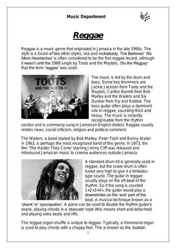 KS3 Music Cover Resource - Reggae worksheet