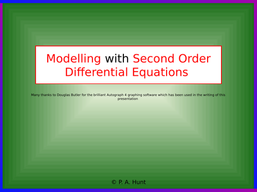 Modelling with Second Order Differential Equations