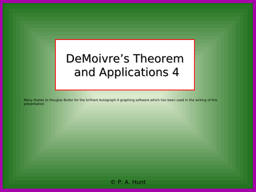 DeMoivre's Theorem and Applications 4