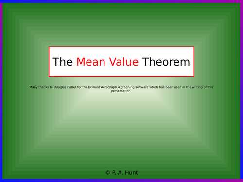 The Mean Value Theorem