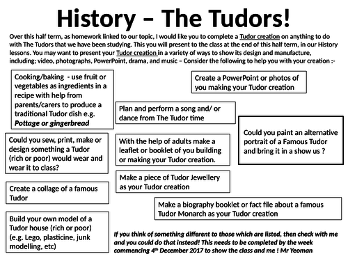 The Tudors Homework task project