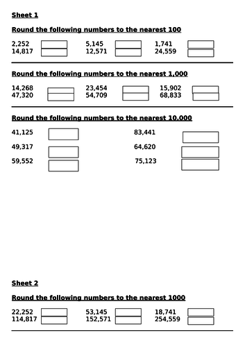 round to nearest 1000, 10000, 100000 - worksheets & challenges - worksheets & challenges - Y5