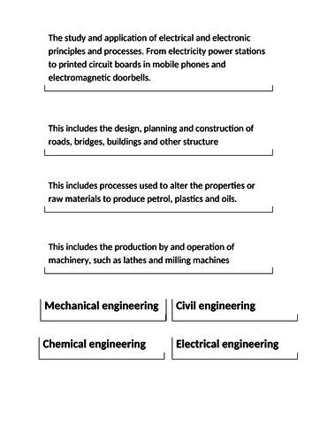 Engineering Tech award Aim A Lesson 1 - Disciplines