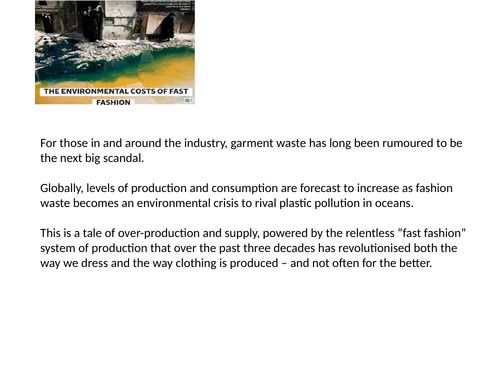 Assembly - The Environmental Impact of Fast Fashion