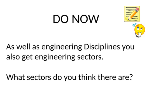 Engineering Aim A Lesson 3 - Engineering scetors