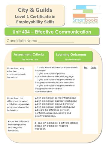 City & Guilds Unit 404 - Effective Communication - Workbook/Final Assignment