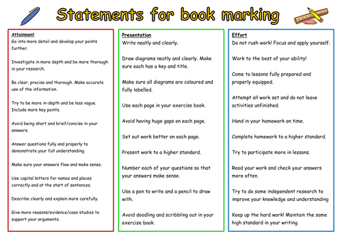 Exercise book marking statements