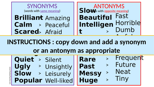 Synonyms and Antonyms Activity for Language Classroom French German Spanish