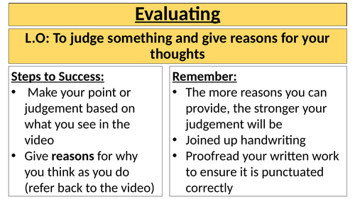 Year 6 - Bloom's Taxonomy Evaluation Skills