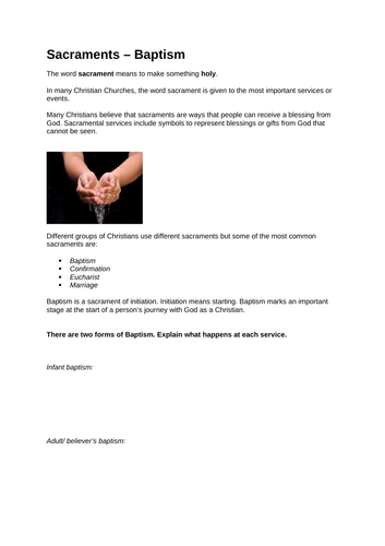 Baptism worksheet