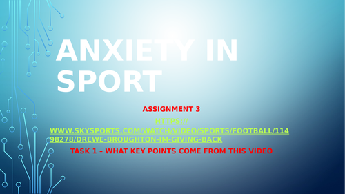 Anxiety in Sport presentation