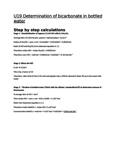 Calculations (step by step) for  unit 19 learning outcome A - Analyte determination