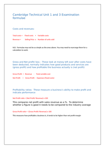 Cambridge Technicals Unit 1 and 3 Business Studies Formulae sheet