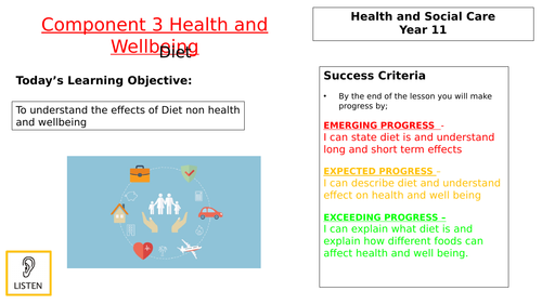 Diet Lesson for component 3 BTEC H&SC
