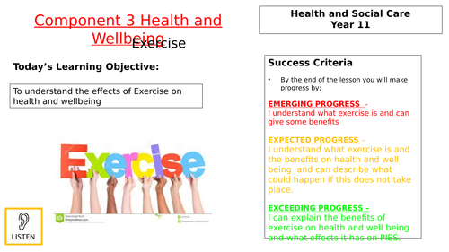 Exercise Lesson for component 3 BTEC H&SC
