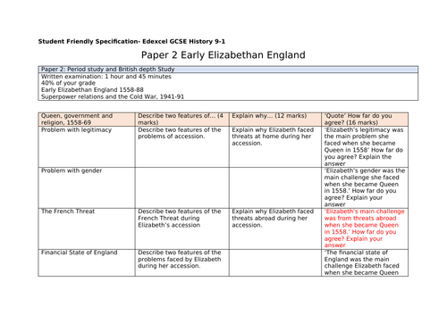 Edexcel 9-1 GCSE Elizabethan England