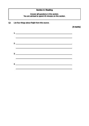 AQA GCSE English Language Paper 1 Mock Exam Practice Revision Past Paper (Pack 2)