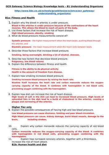 BIOLOGY GCSE REVISION QUESTIONS (5 RESOURCES)