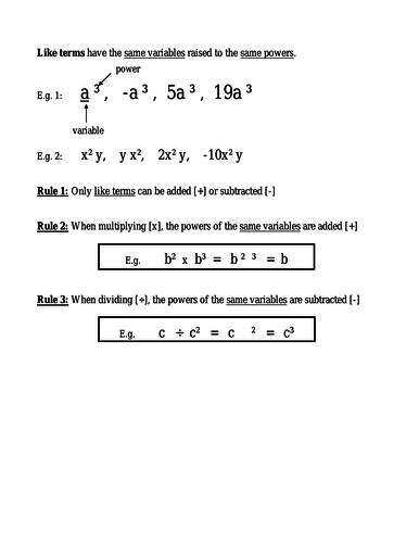 KS3 Year 9 Distributive Law Revision Sheet