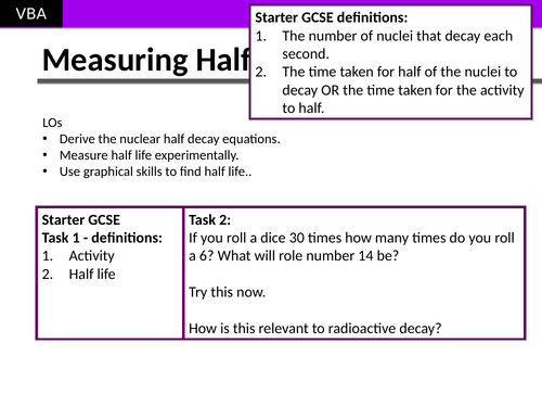 Radioactive Half Life and Nuclear Equations (A2 Physics Edexcel)